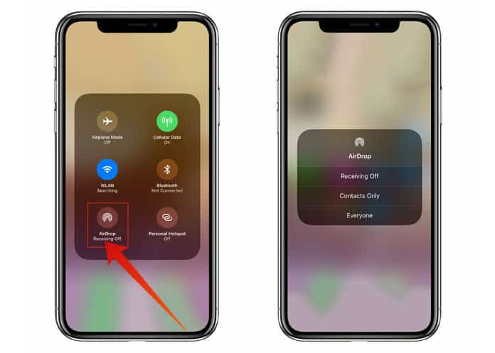 use airdrop on iphone x