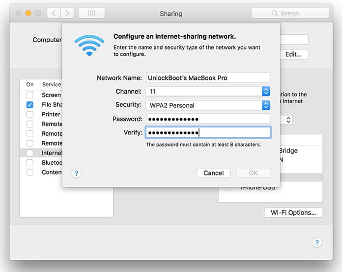 turn mac into wifi hotspot