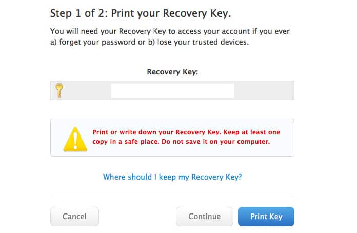 reset apple recovery key