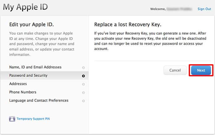 change apple id recovery key