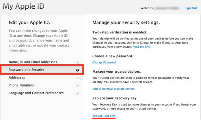 reset apple id recovery key