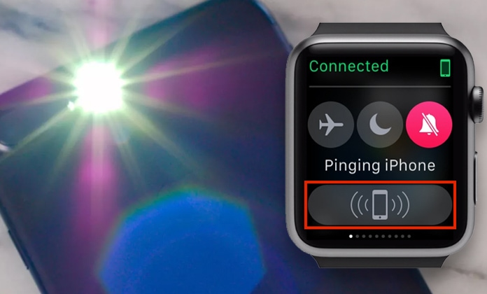 activate led flash light when ping iphone from apple watch