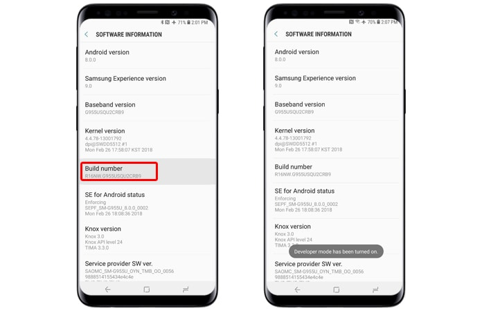 activate developer option galaxy s9