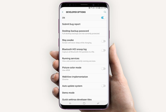 enable developer options on galaxy s9