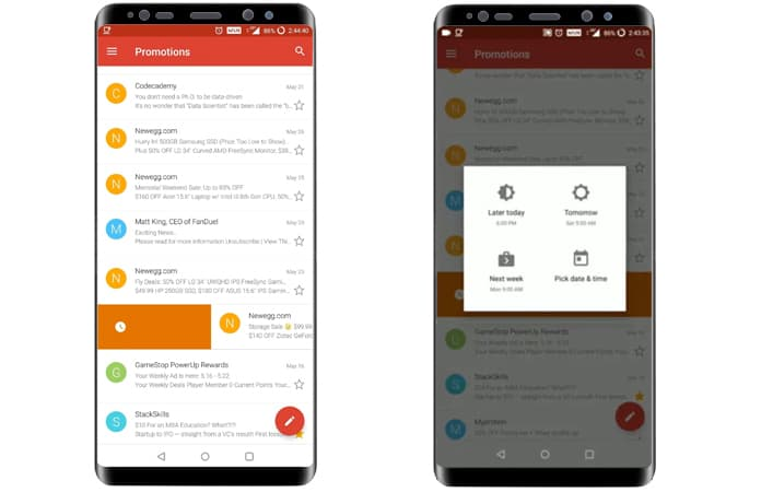 modify gmail gestures on android