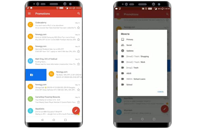 change gmail gestures on android