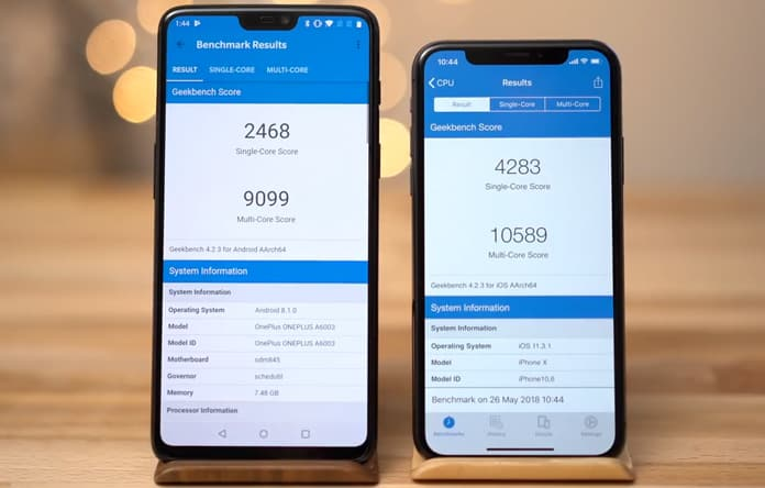iphone x vs oneplus 6 cpu