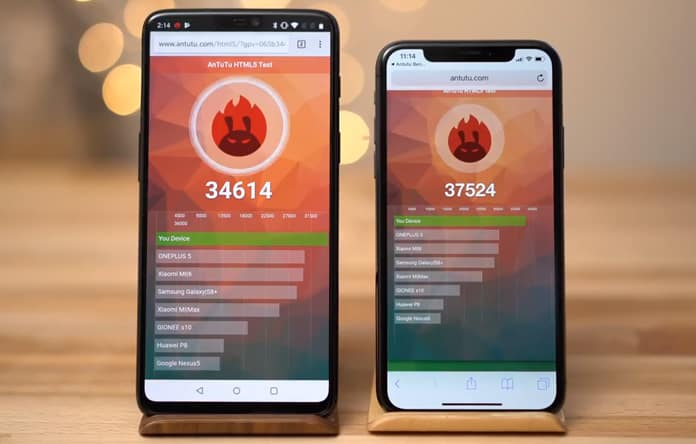 oneplus 6 vs iphone x benchmark