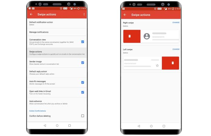 customize gmail gestures on android