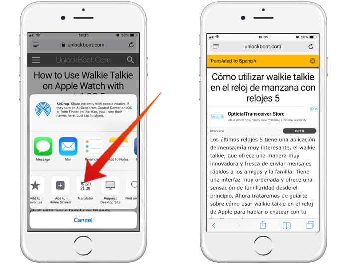 translate pages in safari on iphone
