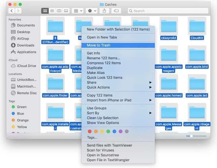 delete cache on mac