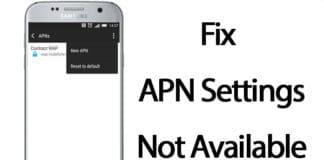 fix apn settings not available
