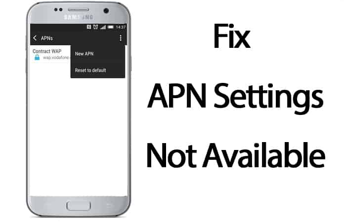 fix apn settings not available