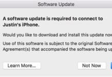 a software update is required to connect to iphone