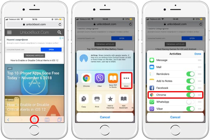 share safari bookmark with chrome