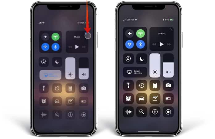 open control center on iphone xr