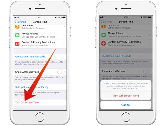disable screen time on iphone