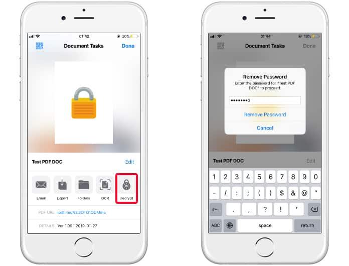 open locked pdf on iphone