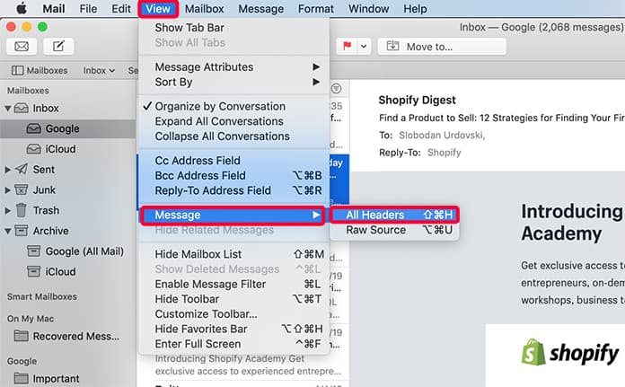 show email headers in mail app on mac