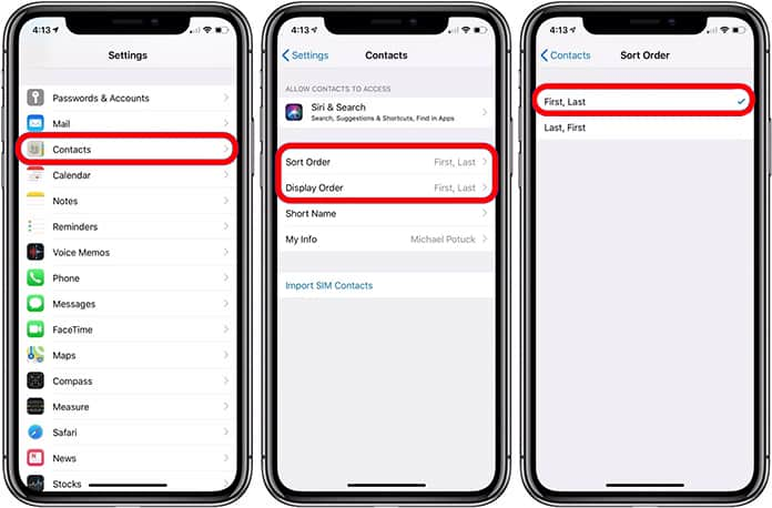 sort contacts by name on iphone