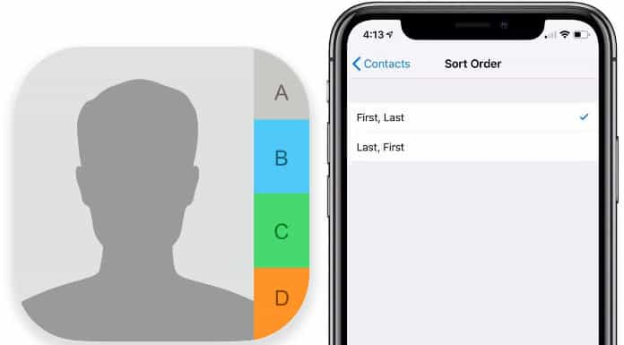 sort iphone contacts by first name