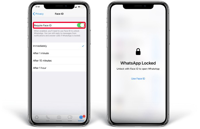 lock whatsapp on iphone x