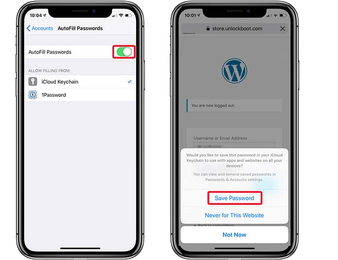 remove website from never save on iphone