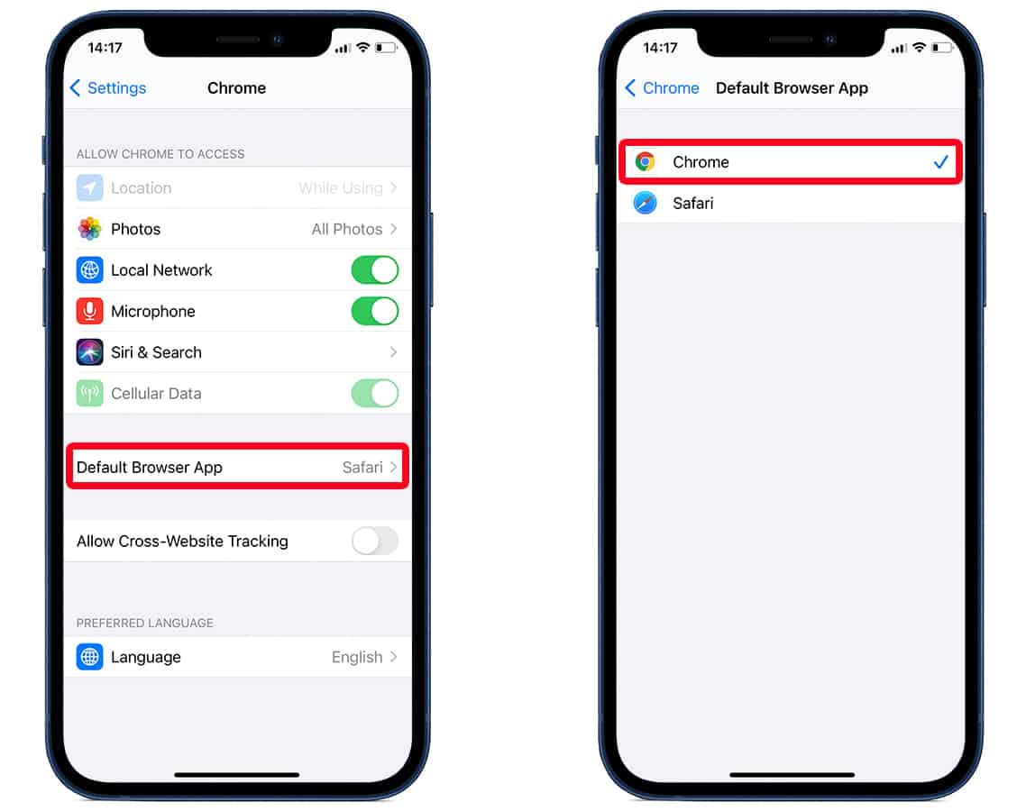 make chrome default browser in ios 14